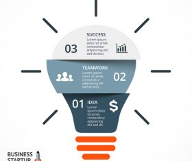 Light bulbs idea infographics template vector 06