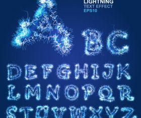 Lightning effect alphabet vector material