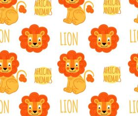 Lion seamless pattern vector 01