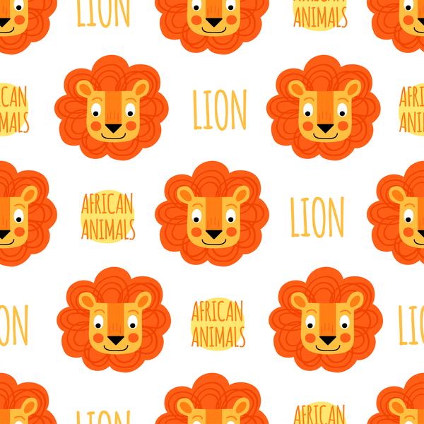 Lion seamless pattern vector 02