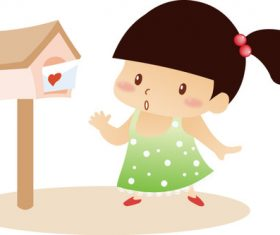 Little girl and mailbox vector