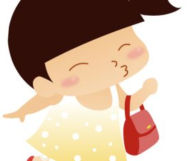 Little girl carrying a small bag vector