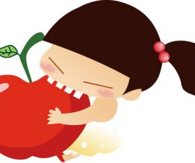 Little girl eating apple vector