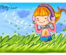 Little girl listening to music vector