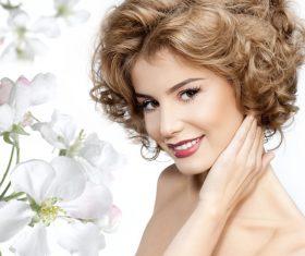 Lovely girl and flower Stock Photo 01