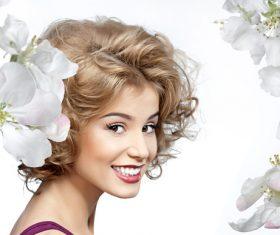 Lovely girl and flower Stock Photo 05