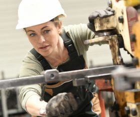 Machine tool woman worker Stock Photo 02