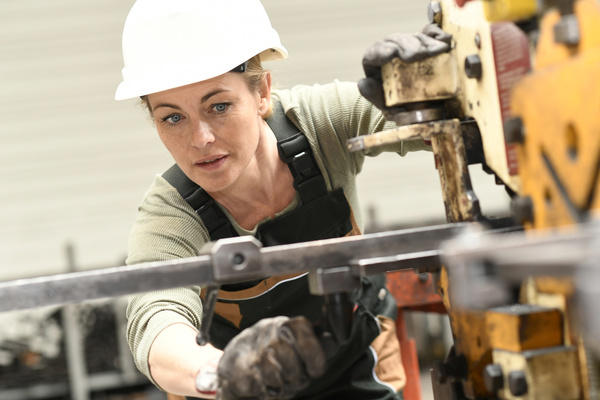 Machine tool woman worker Stock Photo 02