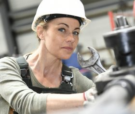 Machine tool woman worker Stock Photo 03