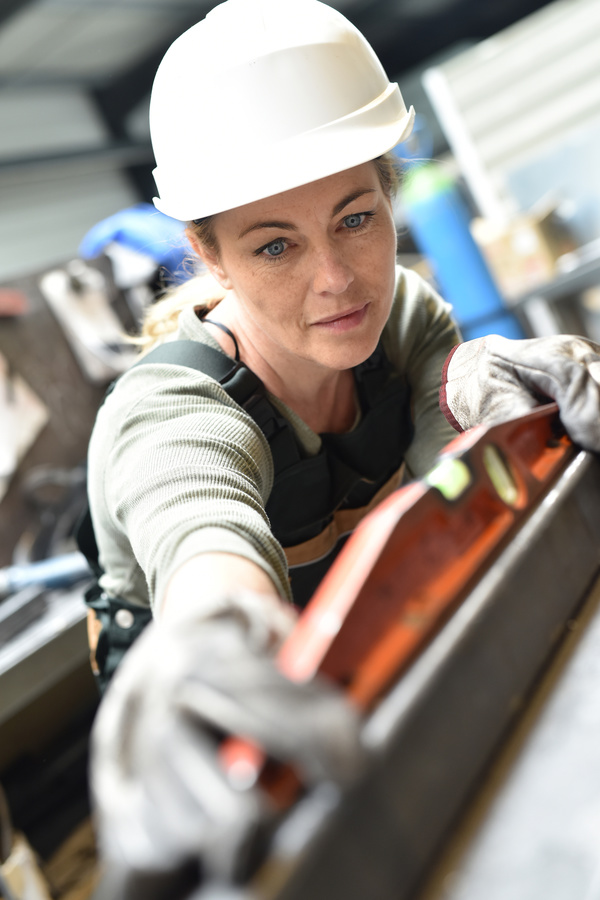 Machine tool woman worker Stock Photo 04