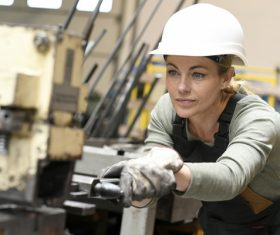Machine tool woman worker Stock Photo 05