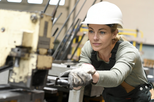 Machine tool woman worker Stock Photo 05