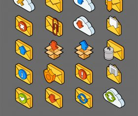 Mail and Cloud – isometric outline color icons