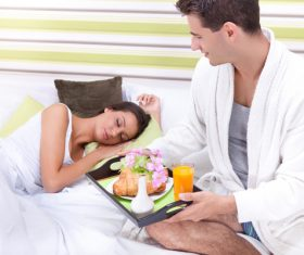 Make breakfast for wife Stock Photo