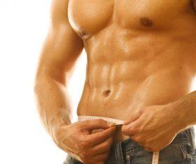 Male waist measurement Stock Photo