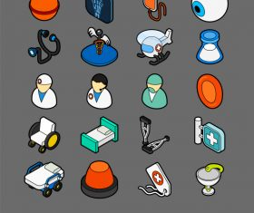 Medical – isometric outline color icons
