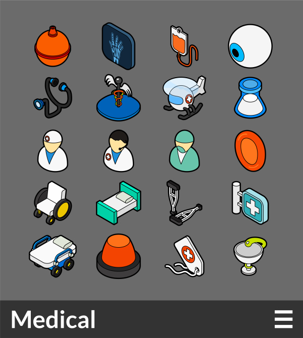 Medical   isometric outline color icons