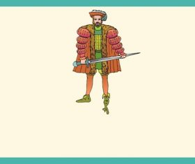 Medieval nobleman cartoon character vector