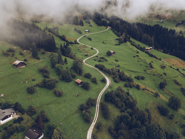 Misty peaceful countryside landscape from high view Stock Photo
