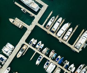 Modern marina jetty from high view Stock Photo