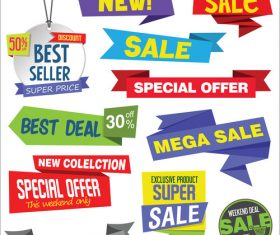 Modern sale stickers and tags colorful vector set