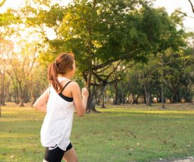 Morning exercise girl doing exercises Stock Photo