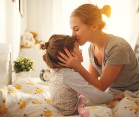 Mother calls her child to get up Stock Photo 02
