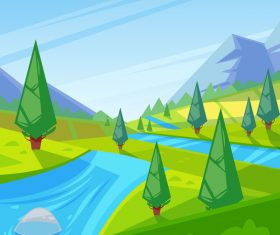 Mountain and river natural landscape vector