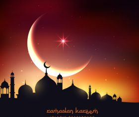 Mubarak background with moon design vector