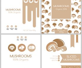 Mushrooms package box template vector