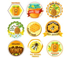 Natural honey labels vector set