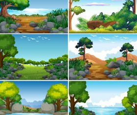Natural landscape design vector set 01