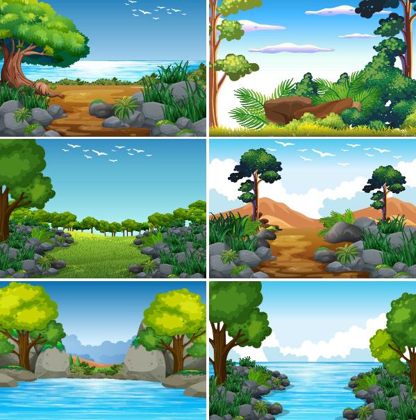 Natural landscape design vector set 01