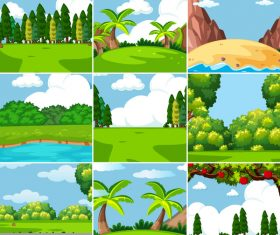 Natural landscape design vector set 02