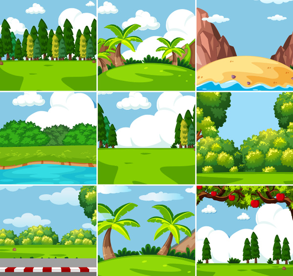 Natural landscape design vector set 02