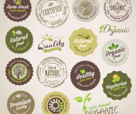 Natural with healthy food labels retor vector