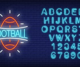 Neon football logo with alphabet with number vector