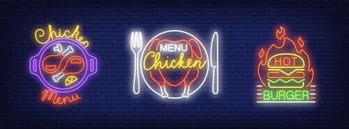 Neon logos design vector material 03
