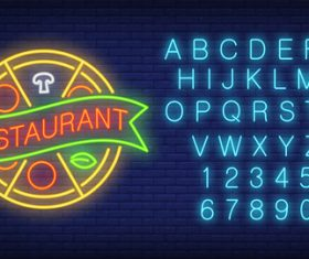Neon restaurant logo with alphabet with number vector