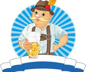 Old man with beer vector