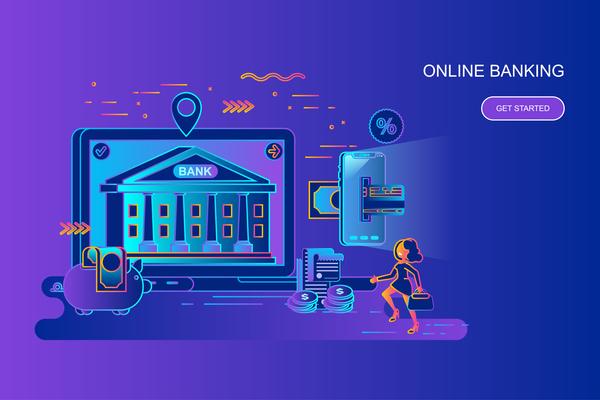 Online bankinf flat design concept vector