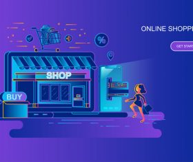 Online shopping flat design conpect vector