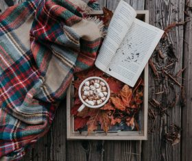 Open book and leaves decoration on wooden table Stock Photo