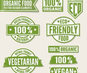 Oragnic with natural food labels vector