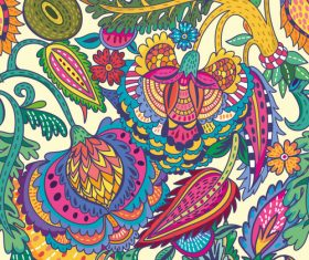 Oriental cut floral seamless pattern vector 01