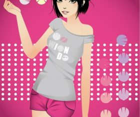 Original cartoon beautiful girl vector