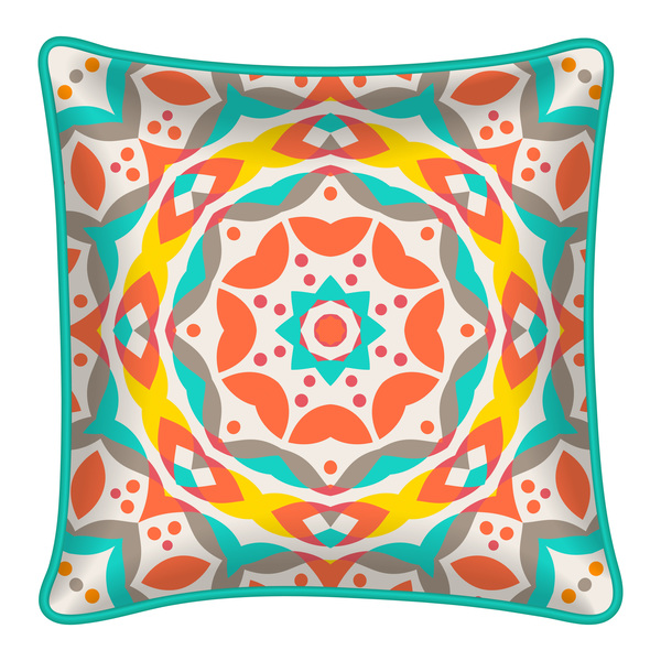 Ornaments pattern with pillow template vector 03