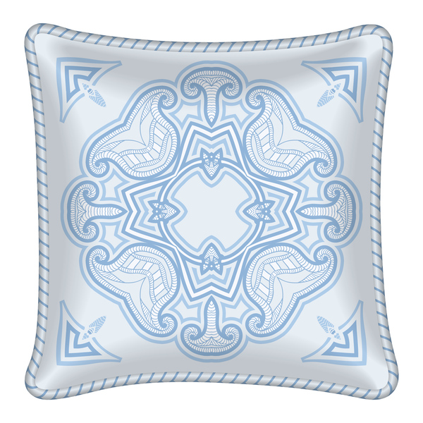 Ornaments pattern with pillow template vector 05