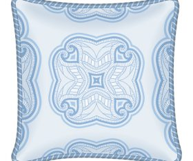Ornaments pattern with pillow template vector 06