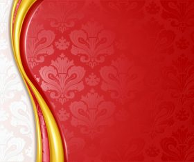 Ornate red decor background vector material